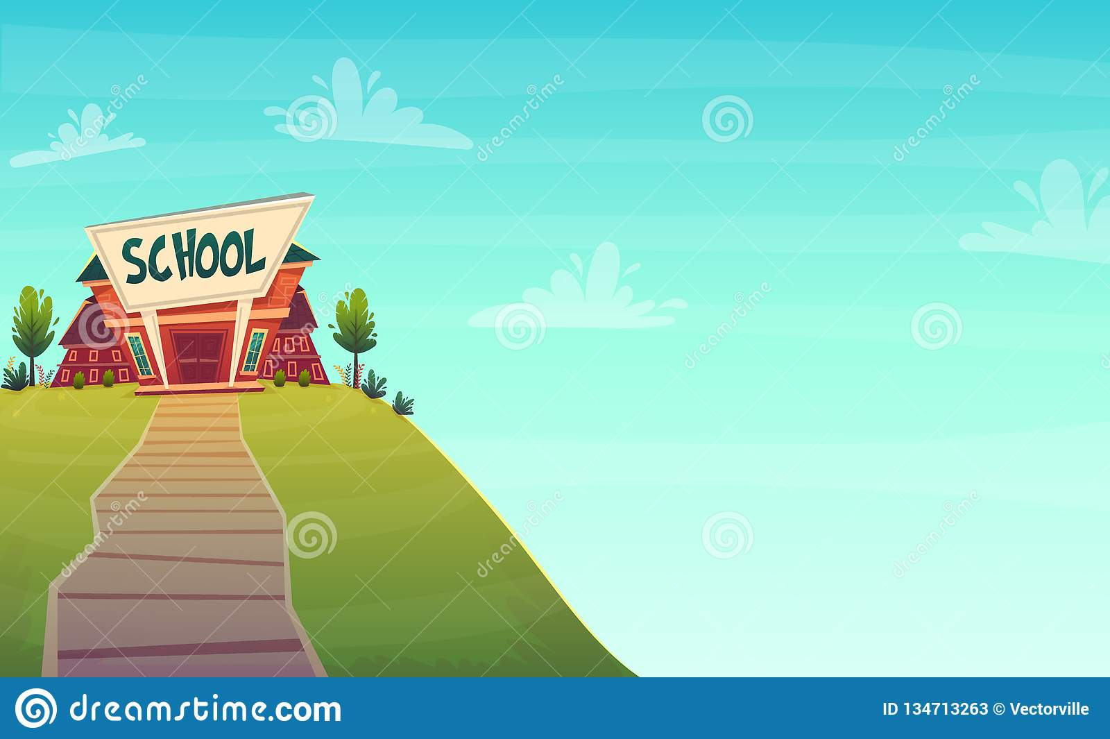 Cartoon School Background Wallpaper Place For Text Sign Funny Cheerful Card Poster Vector Illustration Stock Vector Illustration Of House Funny 134713263