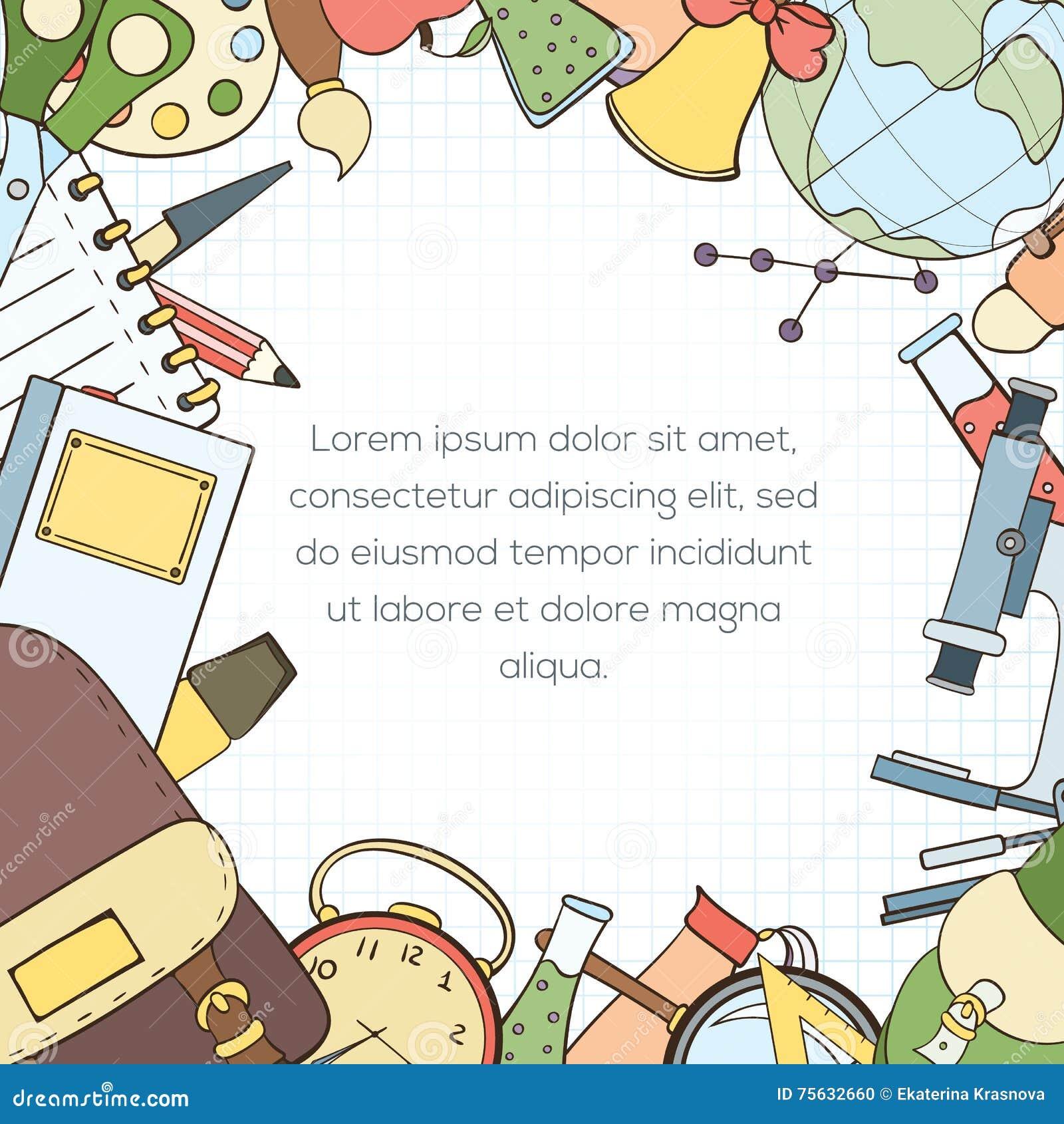 Back to school invitation card stock vector illustration of download back to school invitation card stock vector illustration of education card 75632660 stopboris Choice Image
