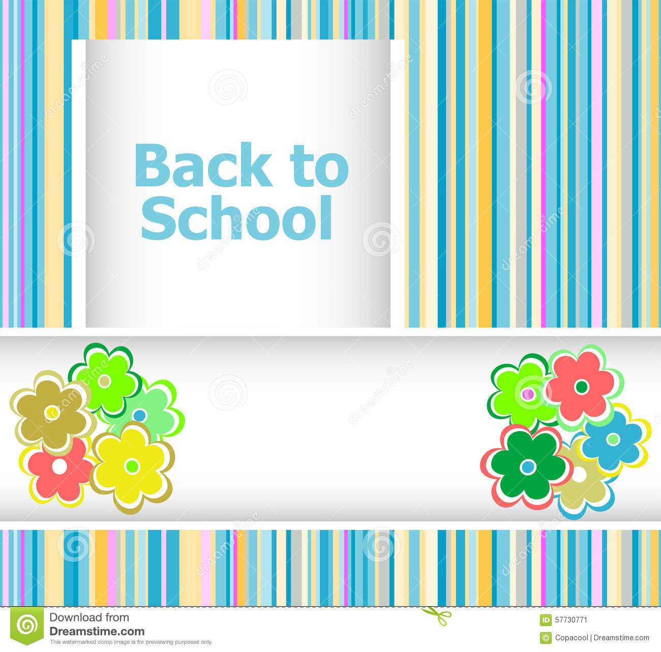 back to school invitation card with flowers education