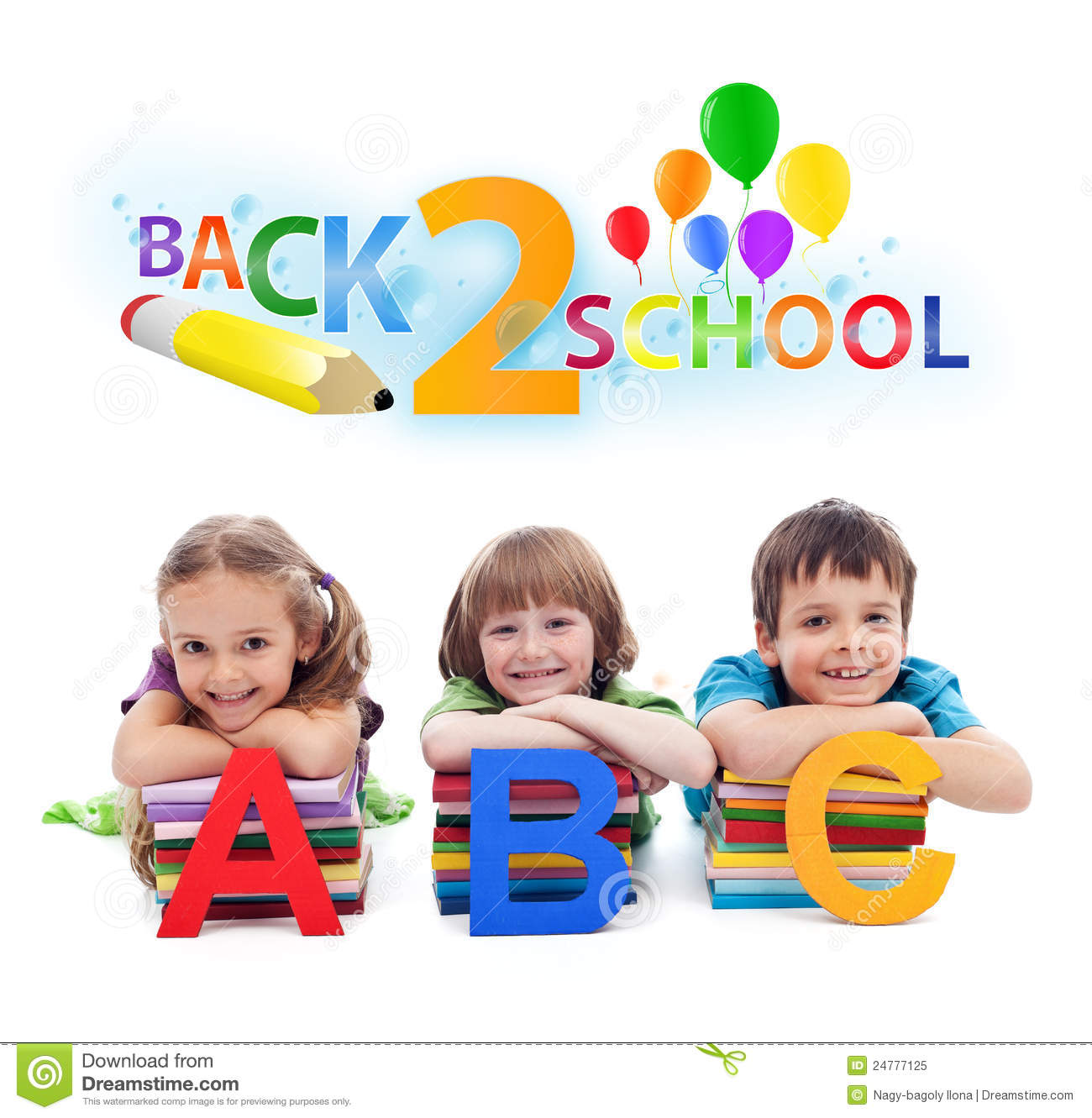back to school kids with books and letters royalty free stock photo - Kids School Pics