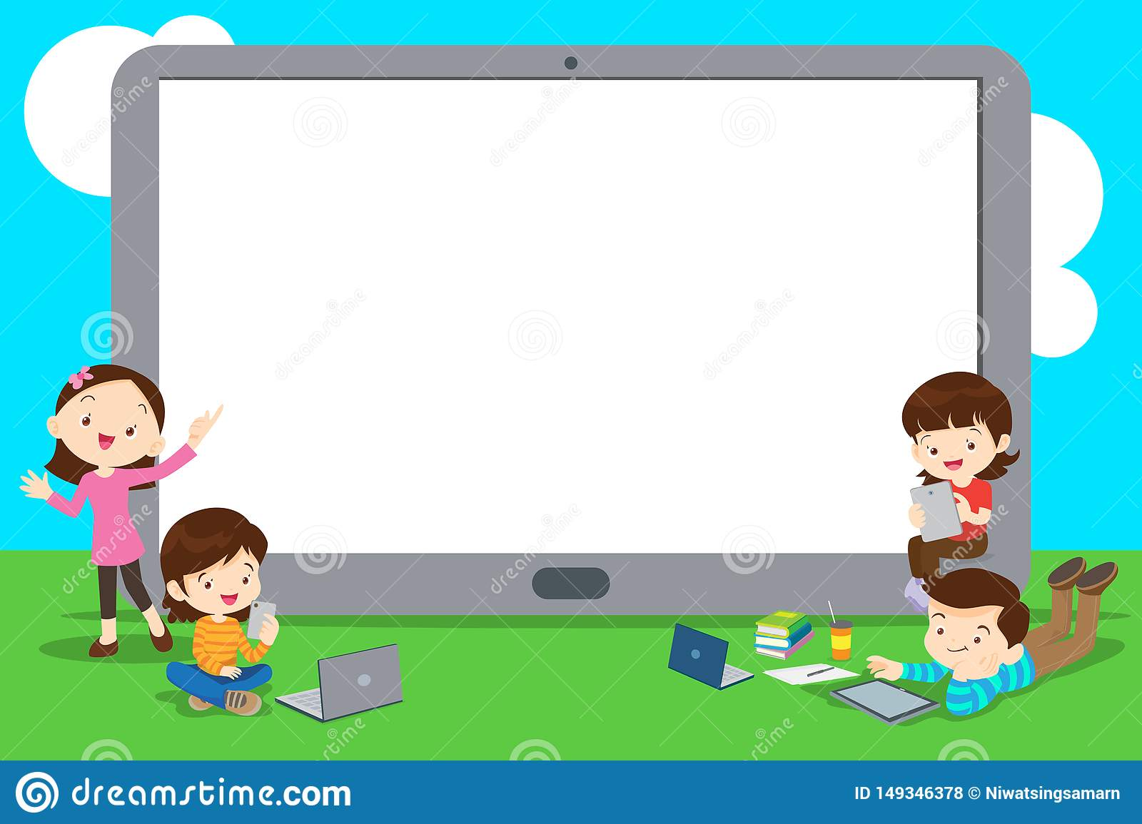 Back To School Kids Education Concept Stock Vector Illustration Of Child Elearning 149346378
