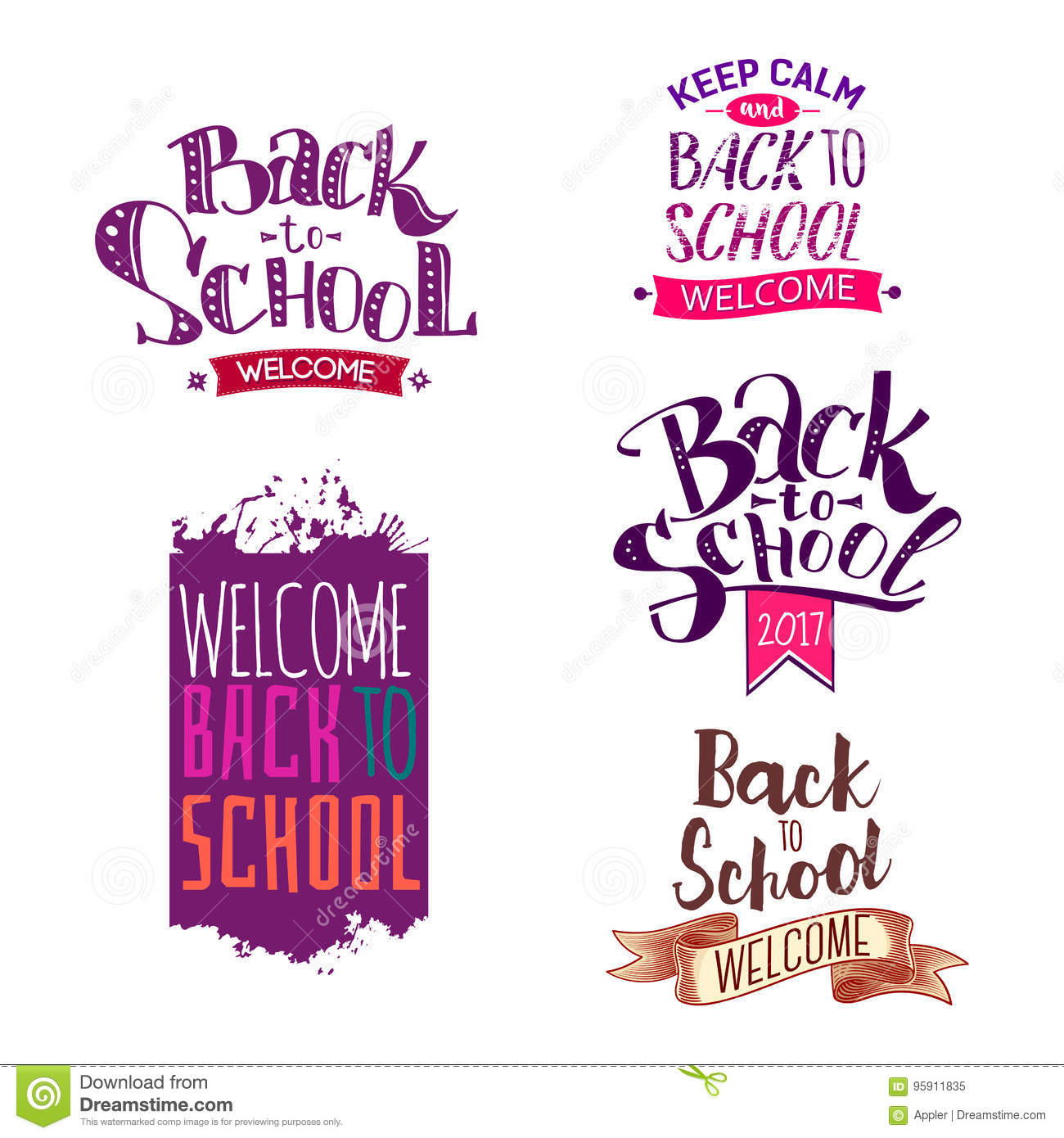 Back to school label set stock vector  Illustration of