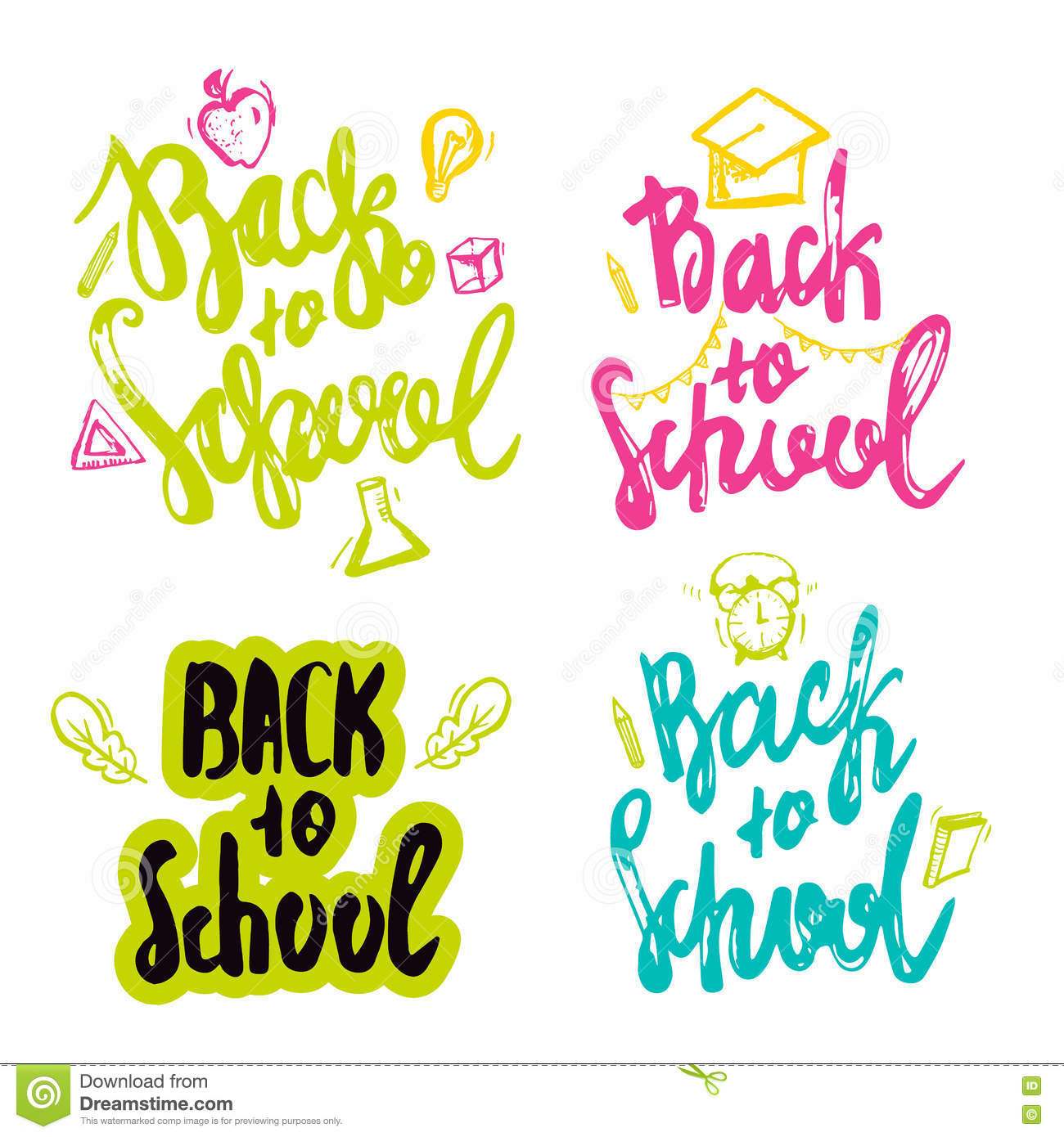back to school lettering hand drawn design. stock vector