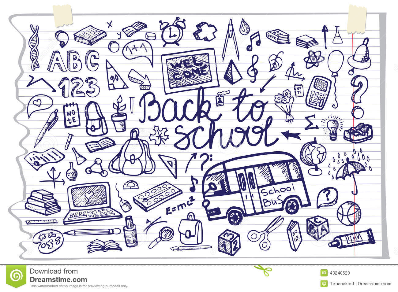 Notebook And Pen Sketch Stock Vector Art More Images Of: Back To School Lettering,Supplies Sketchy Notebook Stock