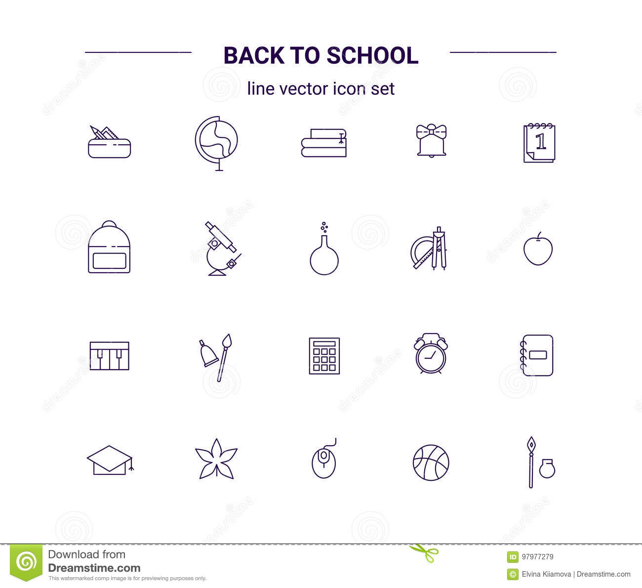 Back To School Line Icon Set Education Collection Stock