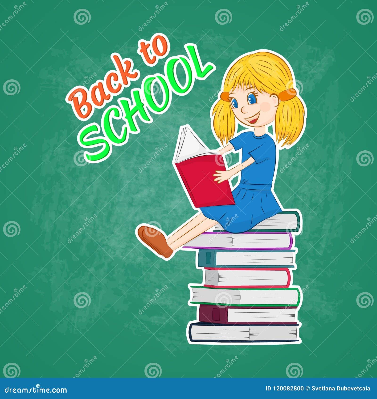 back to school, little girl studying