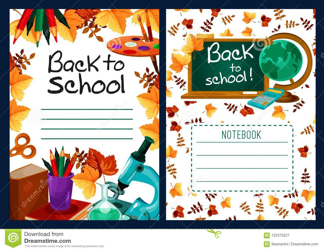 Back To School Vector Lesson Notebook Cover Design Stock