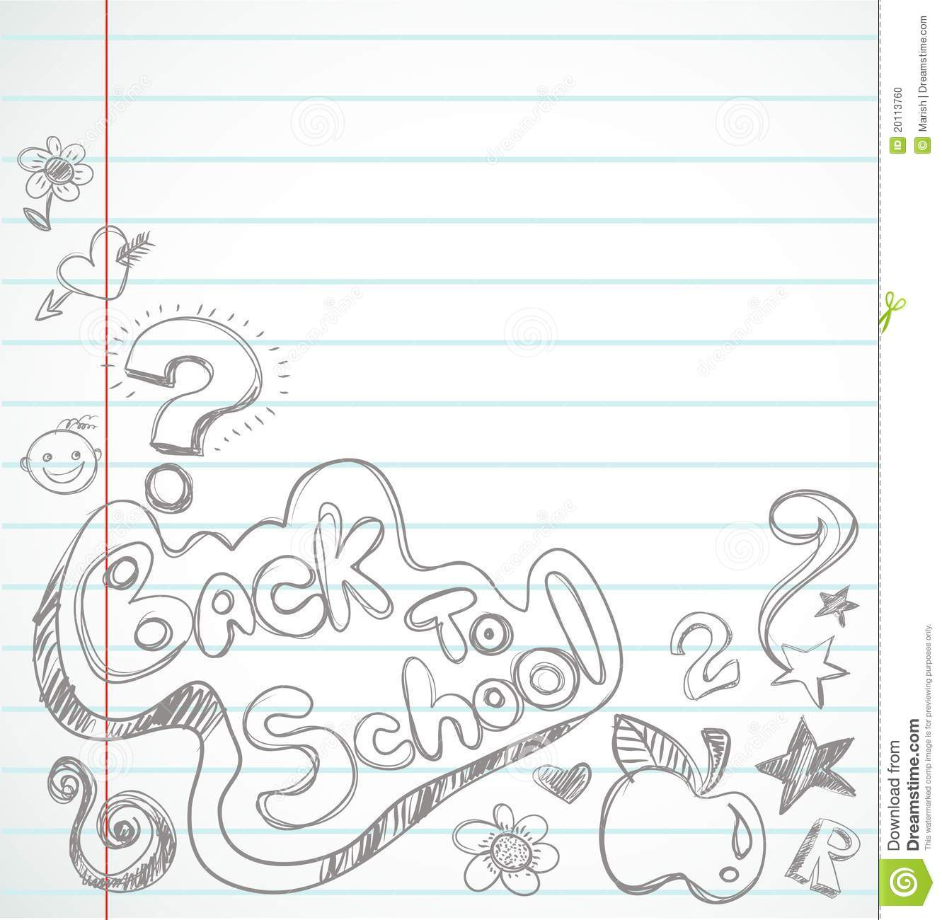 Back To School - Notebook With Doodles Stock Photo - Image ...