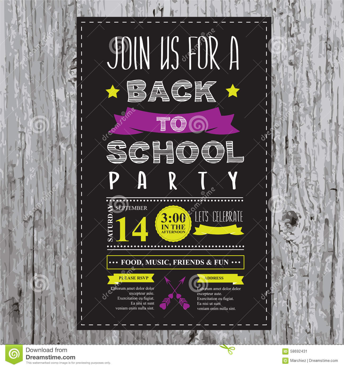 Back to school party invitation stock vector illustration of download back to school party invitation stock vector illustration of board template stopboris Images