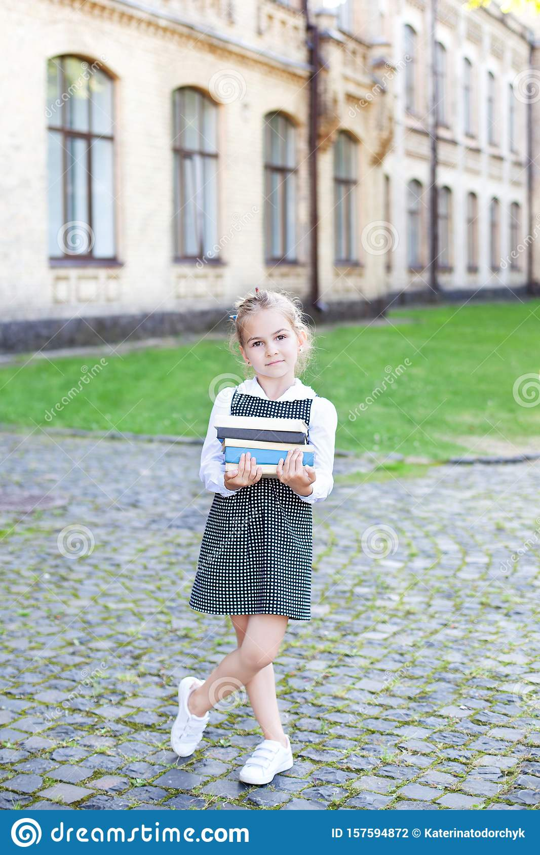 Back to school. Portrait of a schoolgirl with books, textbooks on the background of the school. Education concept. Preschool educa