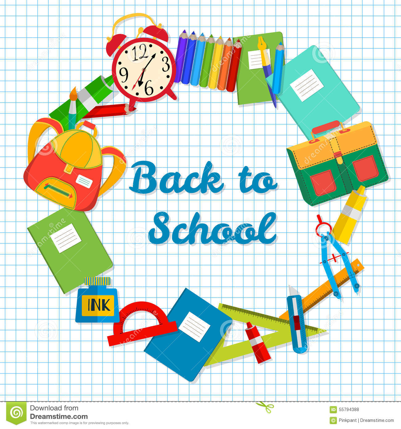 Back To School Postcard Frame From School Objects Office Supplies