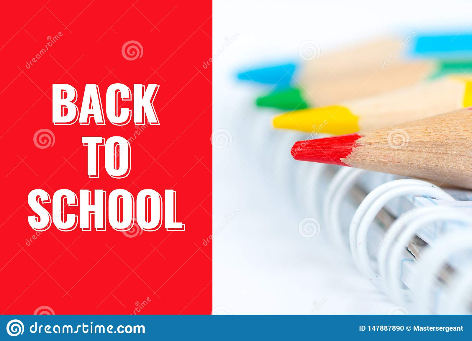 Back to school, postcard with pencils