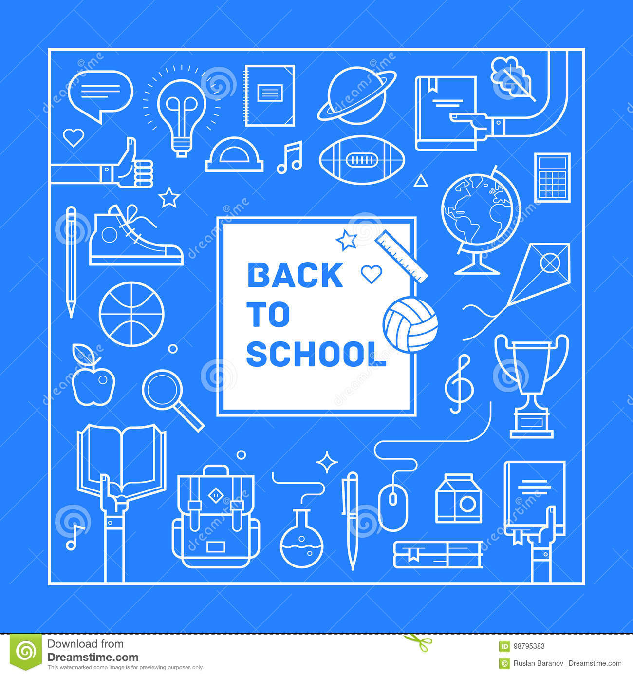 Back to school poster or invitation design in trendy linear style download back to school poster or invitation design in trendy linear style set of different stopboris Gallery