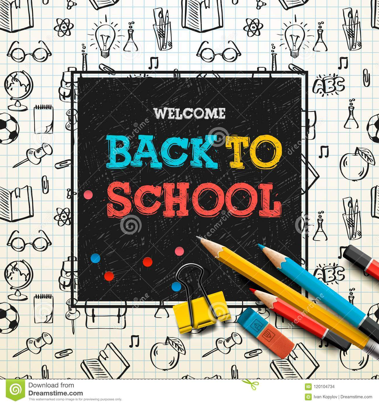 Back To School Poster, Sketchy Notebook Doodles With