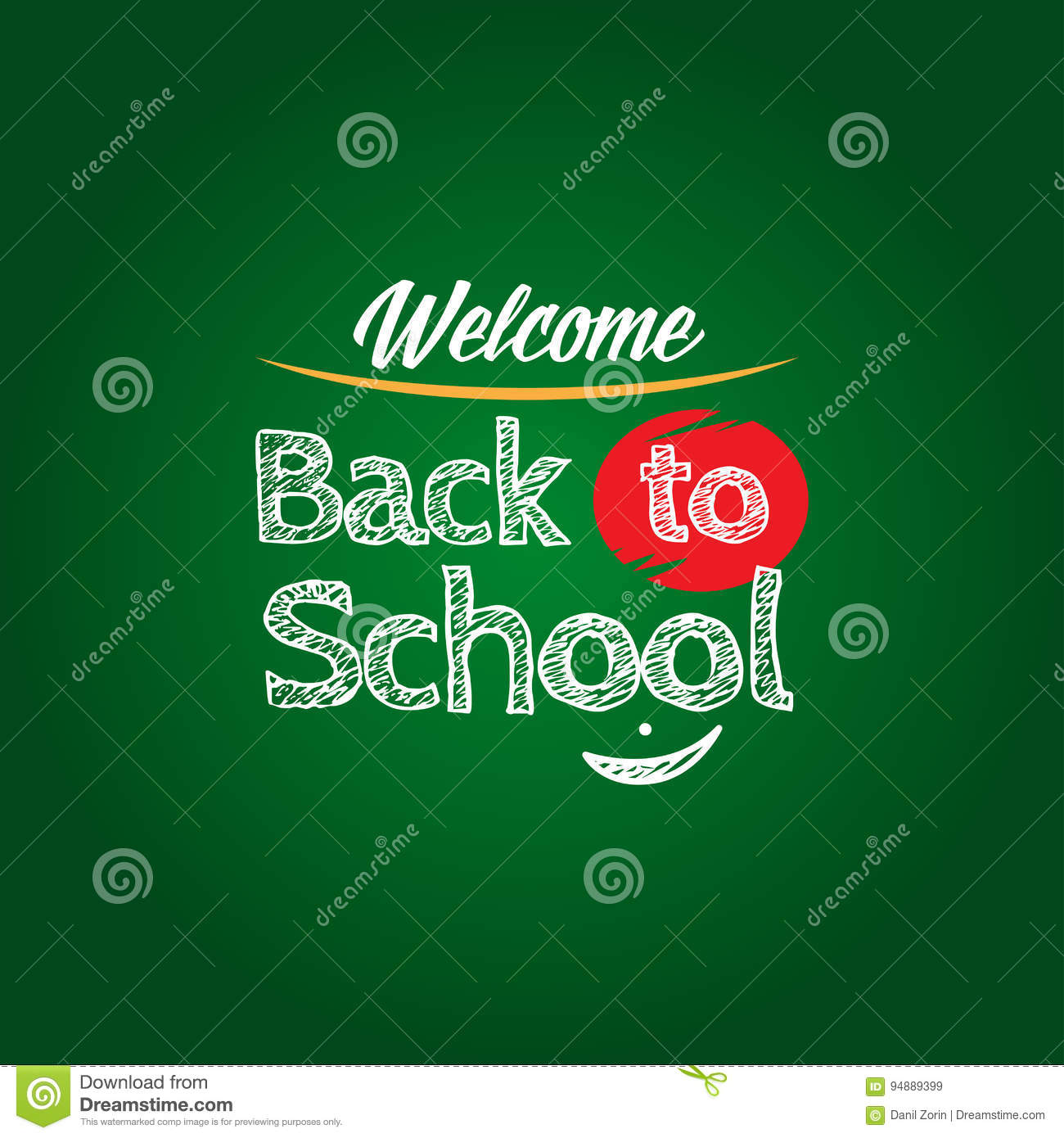Back To School Poster Template With Text On Chalkboard, Isolated ...
