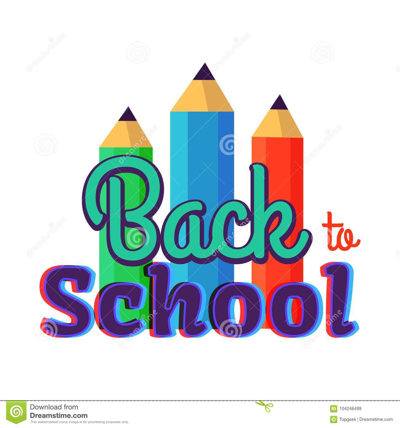 Back to School Poster with Three Colorful Pencils