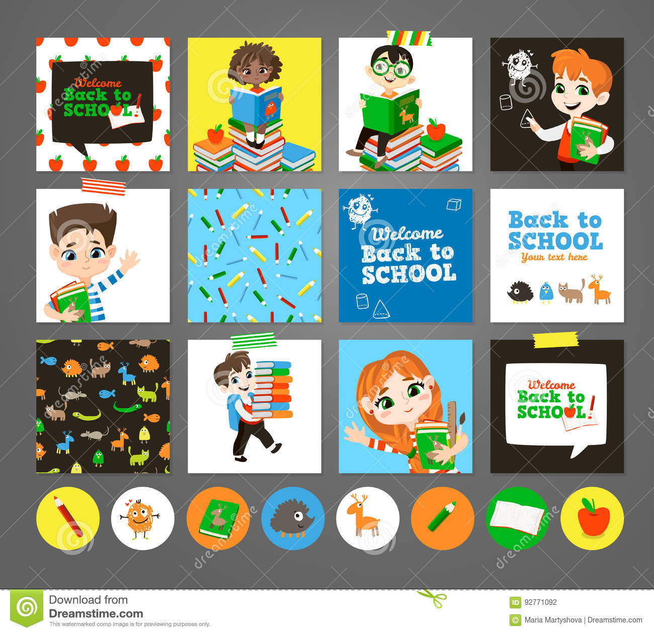 Back To School Printable Set With Pupils. Stock Vector ...