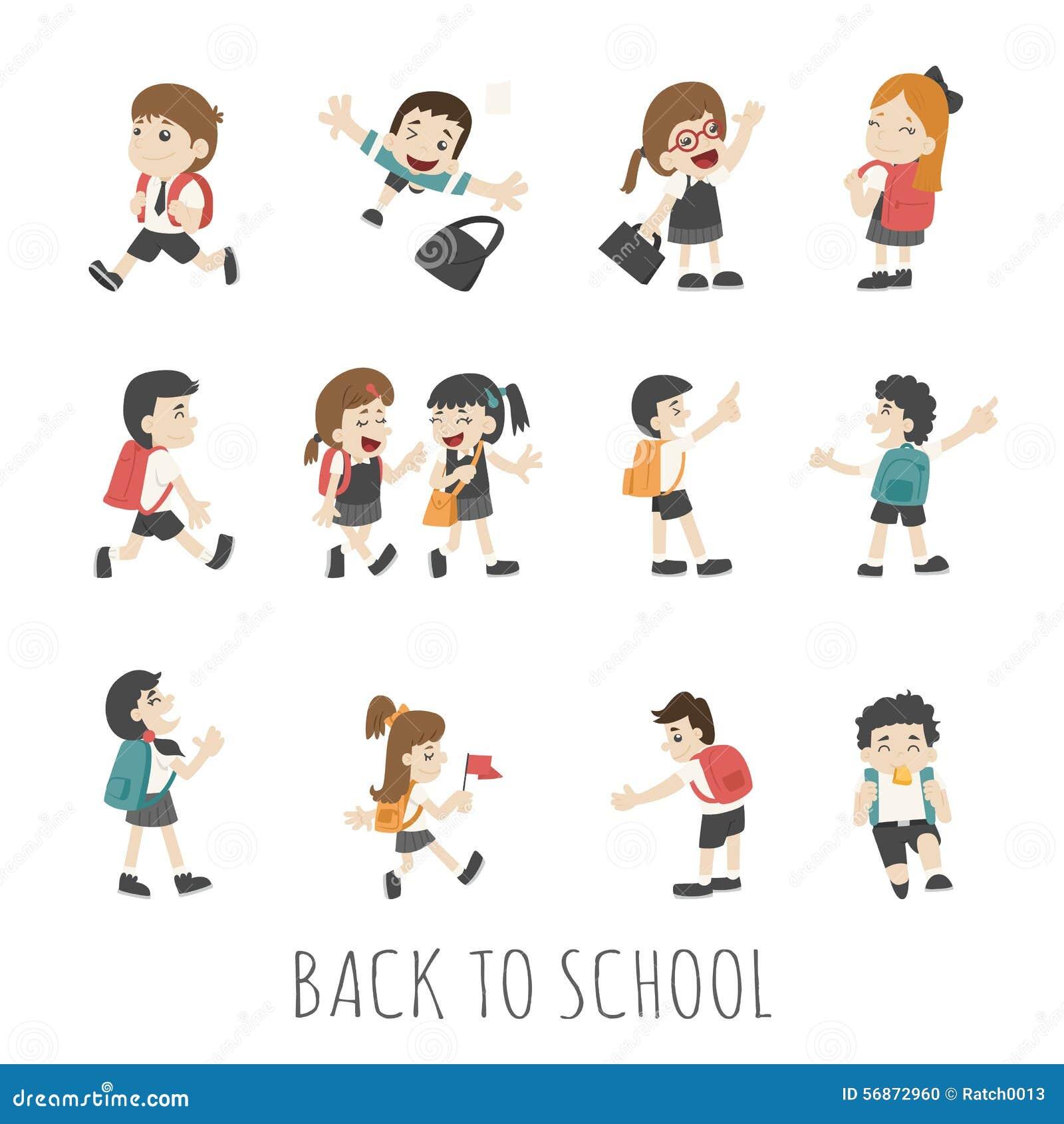 Back To School Pupils In School Uniform Stock Vector