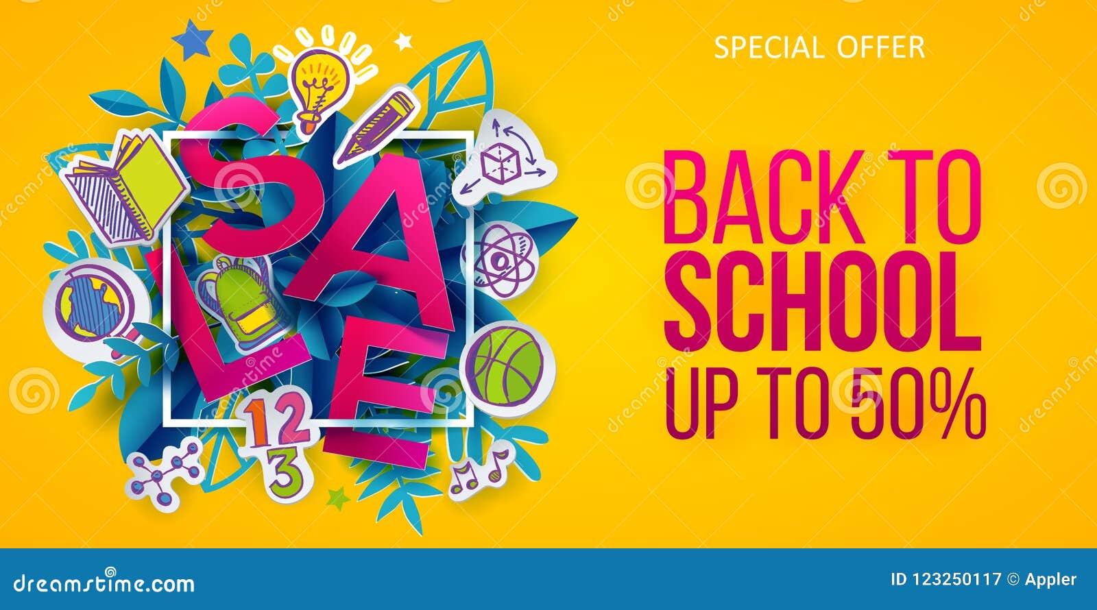 Back To School Sale Banner Offer Stock Vector - Illustration of