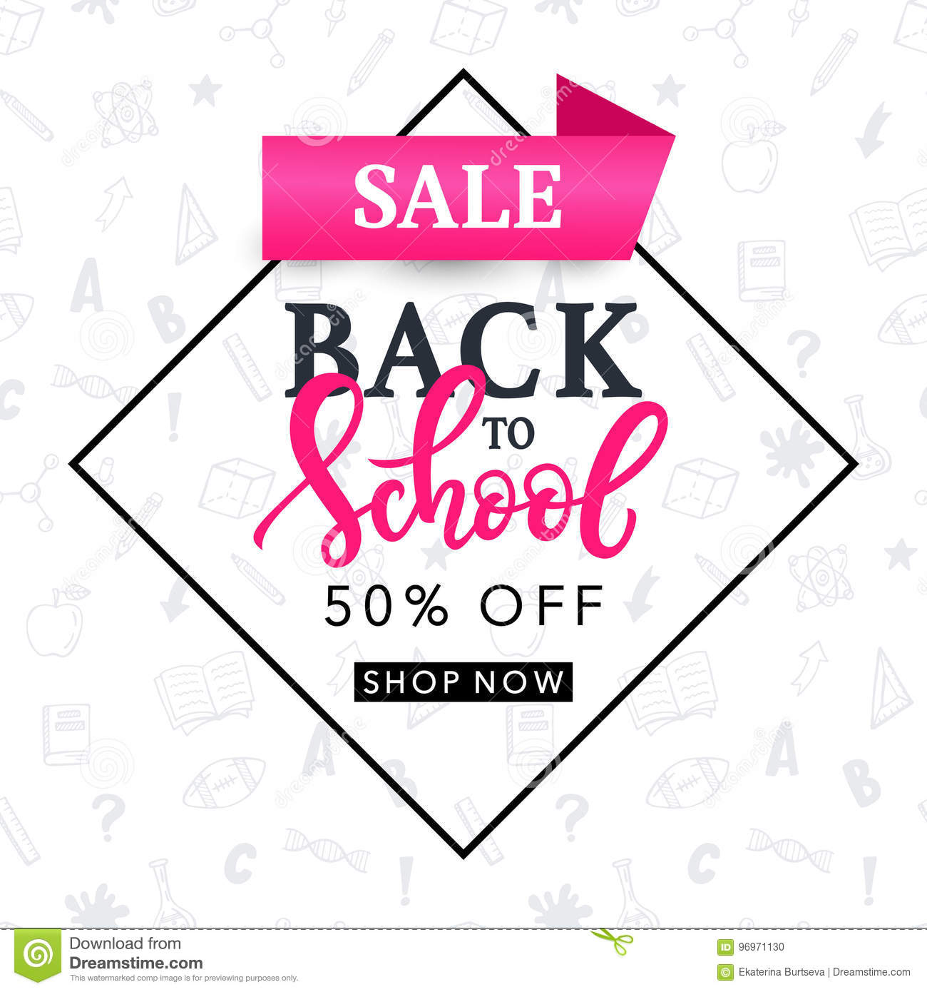 Back To School Sale Banner Template Stock Vector - Illustration of ...