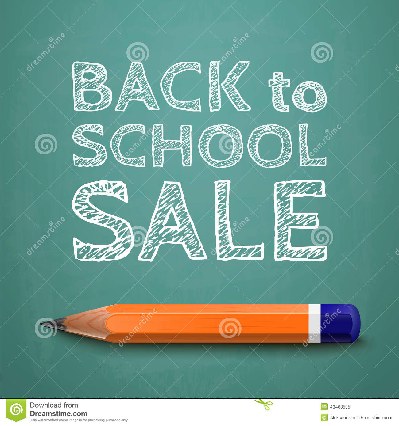 Back to school sale poster with text on chalkboard and pencil vector
