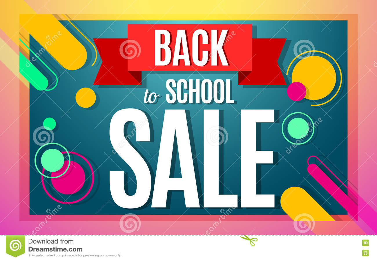 b498733f25 Back to school sale color banner design. Vector illustration template in  modern style