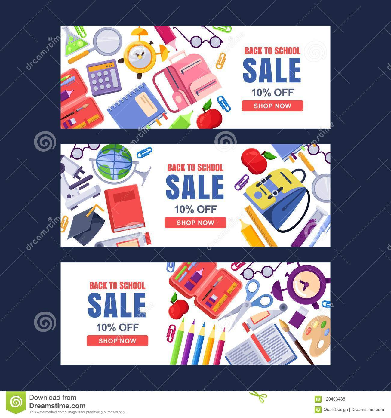 Back To School Sale Vector Banner Template Education Backgrounds Set With Stationery Supplies Stock Vector Illustration Of Book Discount 120403488