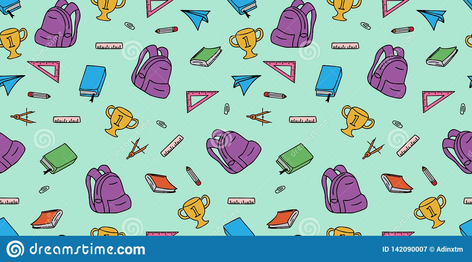 Back to school seamless pattern doodle hand drawn colorful cute drawing for kids
