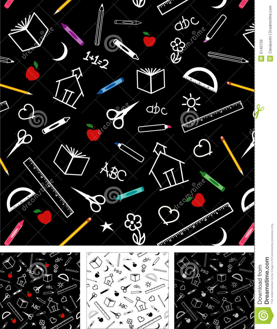 Back To School Seamless Tiles Backgrounds Royalty Free