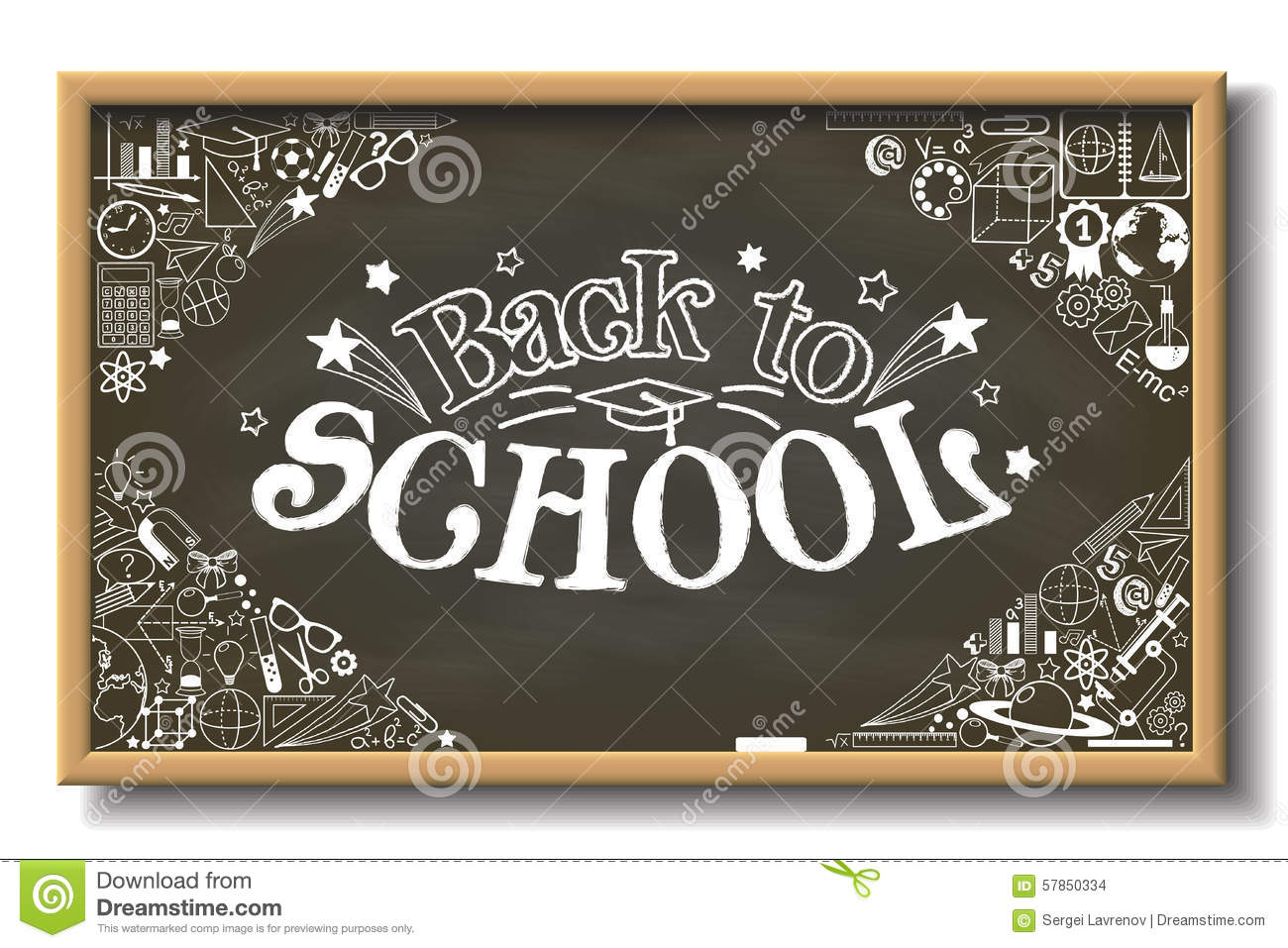 Back To School Sign On Horizontal Chalkboard With Doodle ...