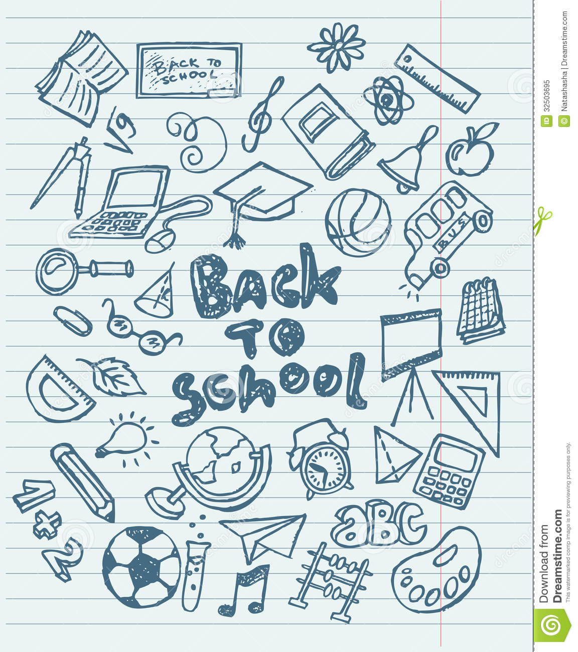 Back To School Sketchy Doodles Stock Vector - Image: 32503695