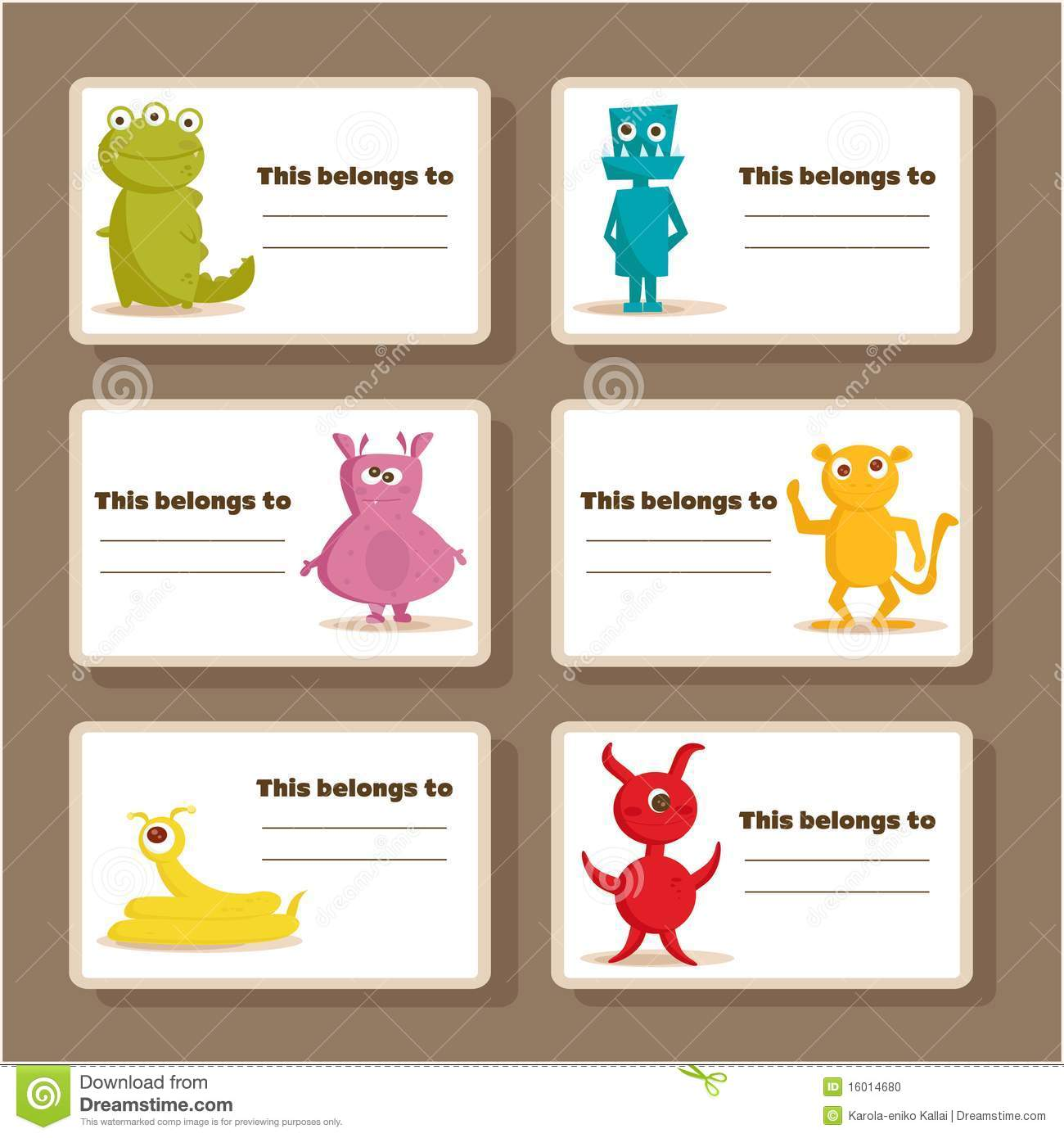 Back To School Stickers With Cute Monsters Stock Vector ...