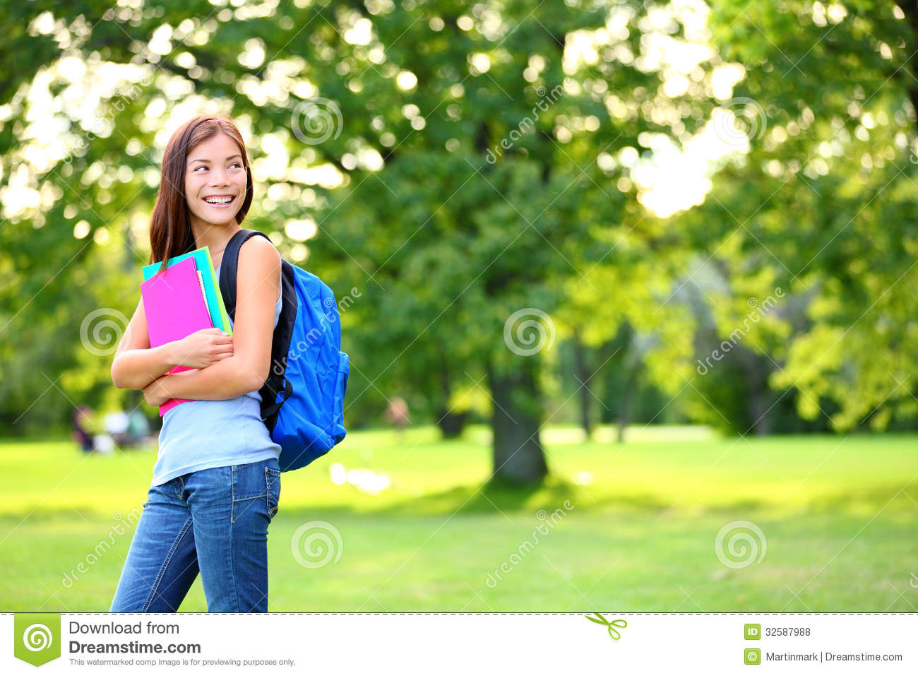 Back to school student girl looking to side