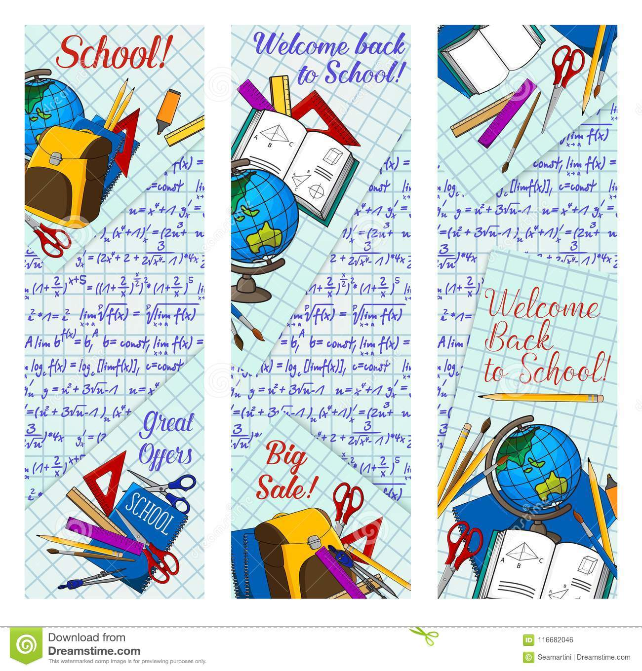 back to school supplies discount offer banner for new school year sale season template student education items pencil book ruler and pen