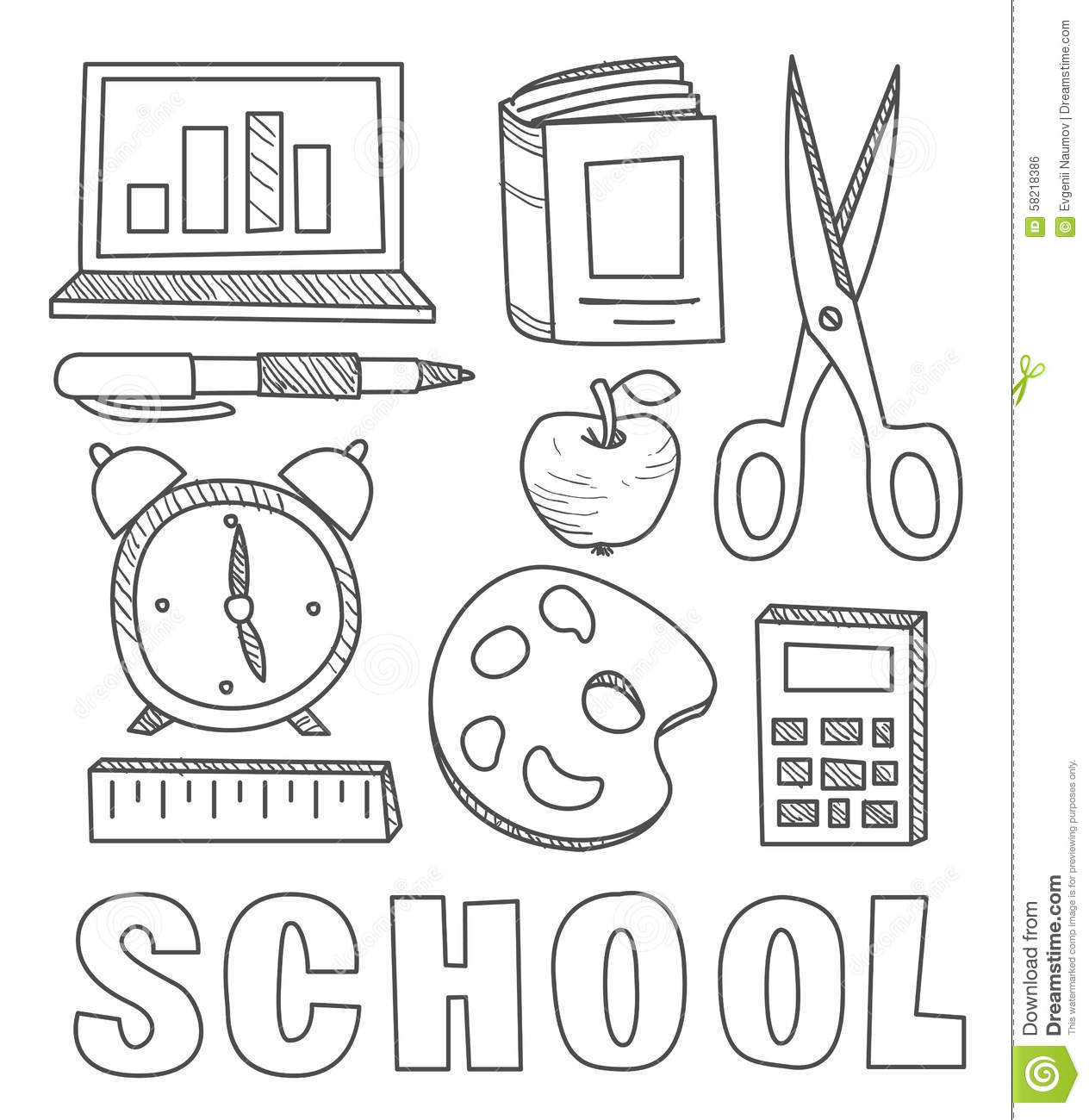Back To School Supplies Sketchy Notebook Doodles Stock ...