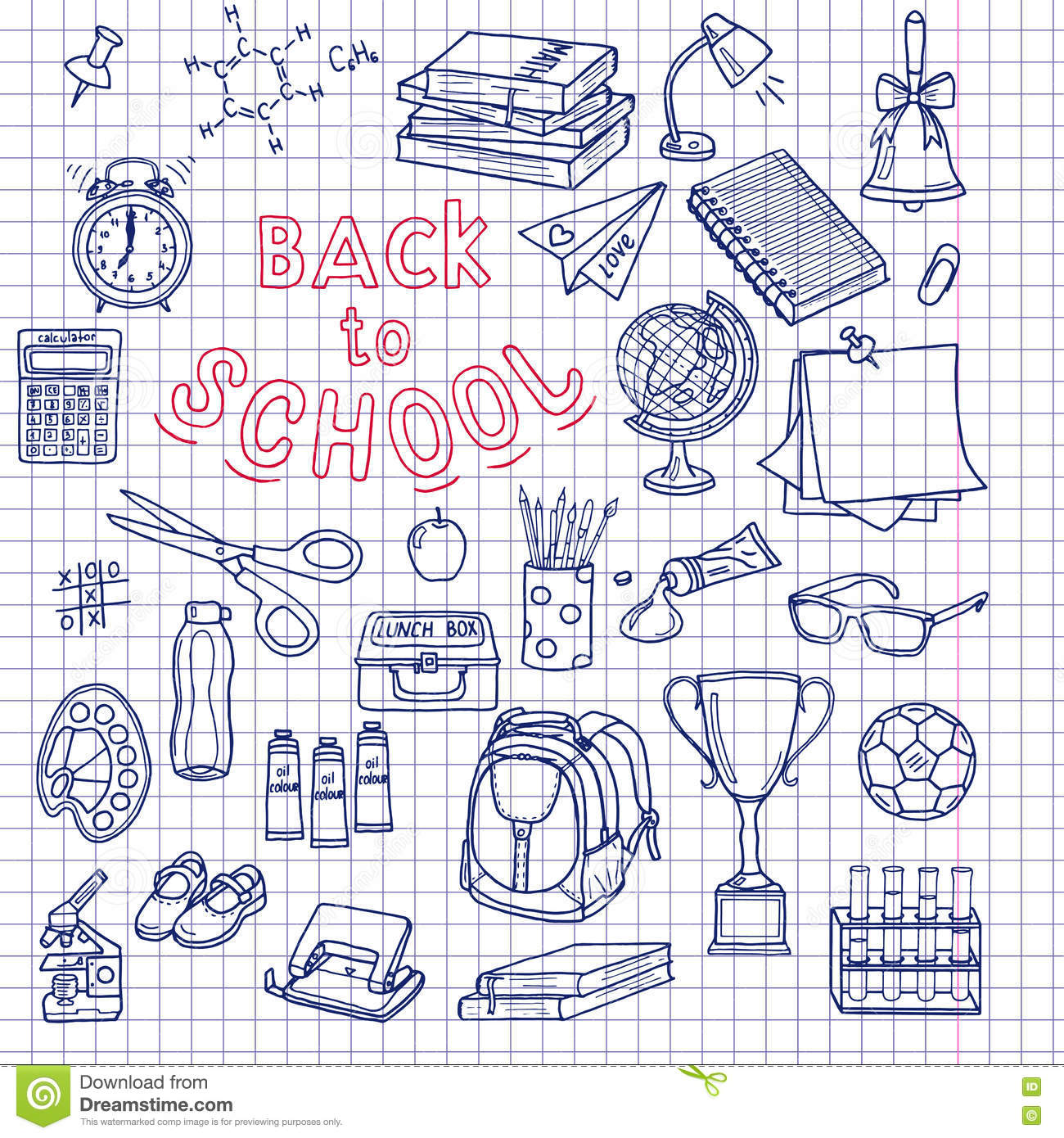 Back to School supplies sketchy notebook doodles with lettering