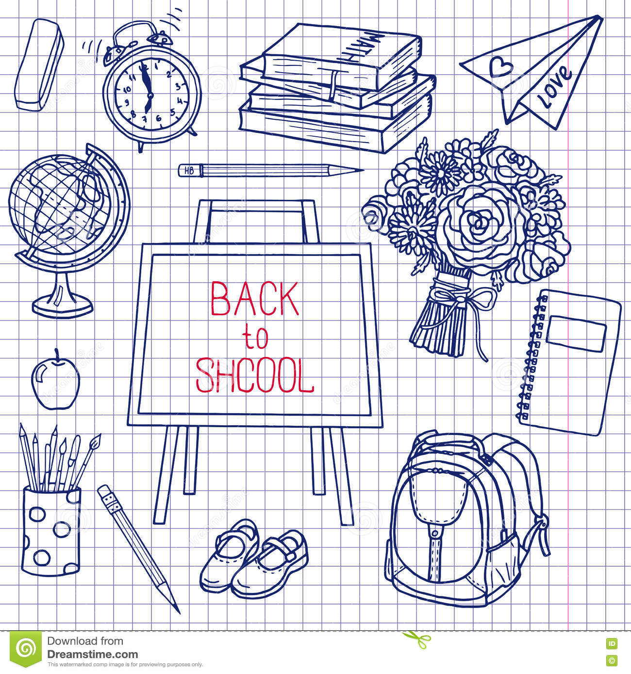 Back To School Supplies Sketchy Notebook Doodles With ...