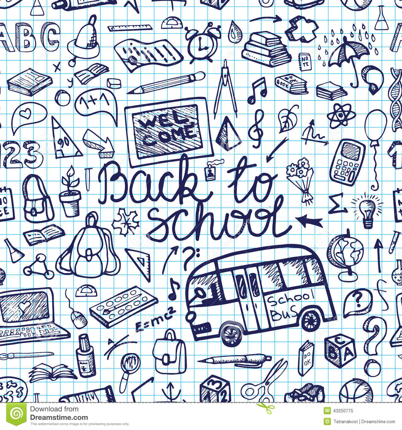 Back To School Supplies Sketchy Notebook.Seamless Stock