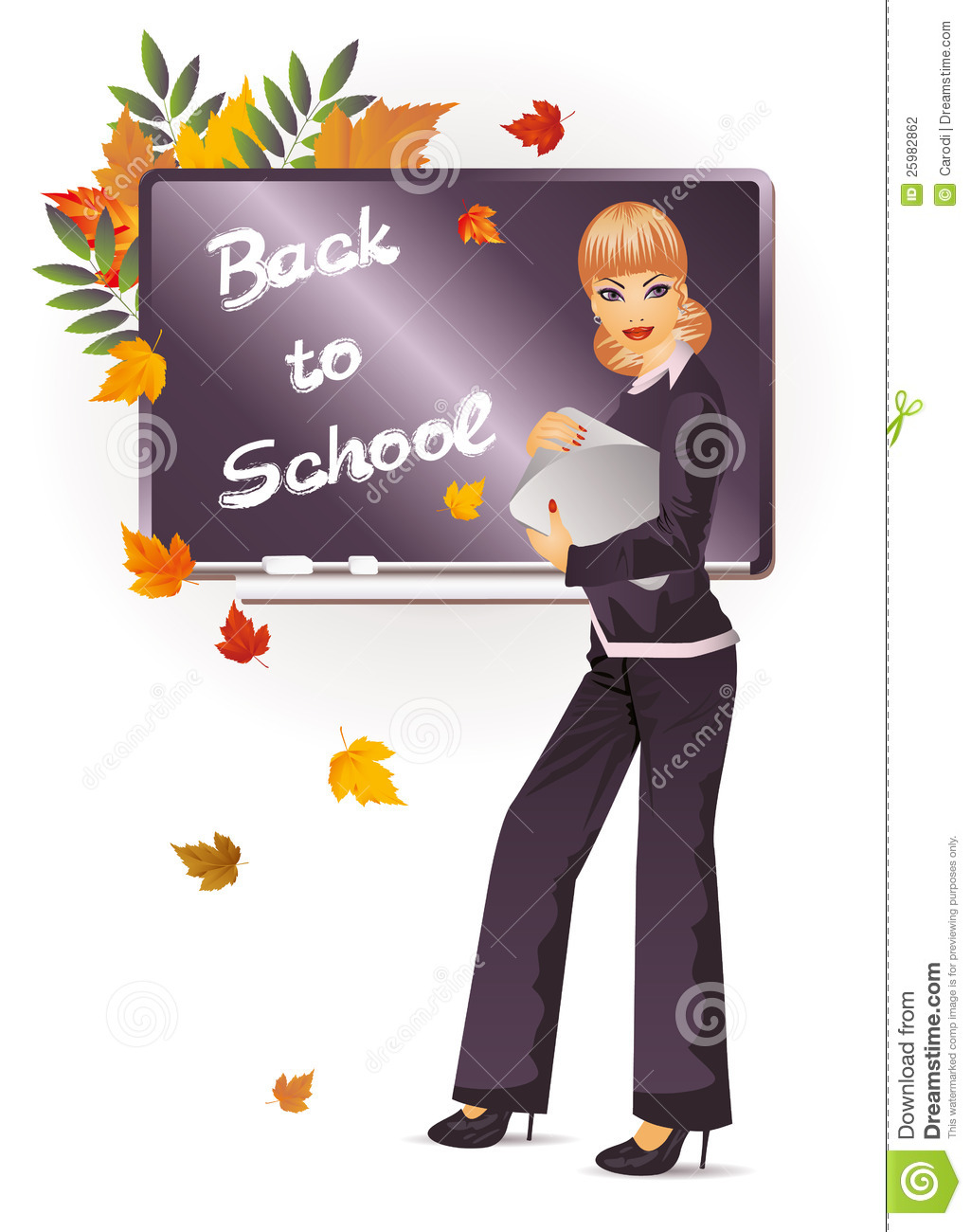 Back To School. The Teacher With Notebook Stock Photography ...