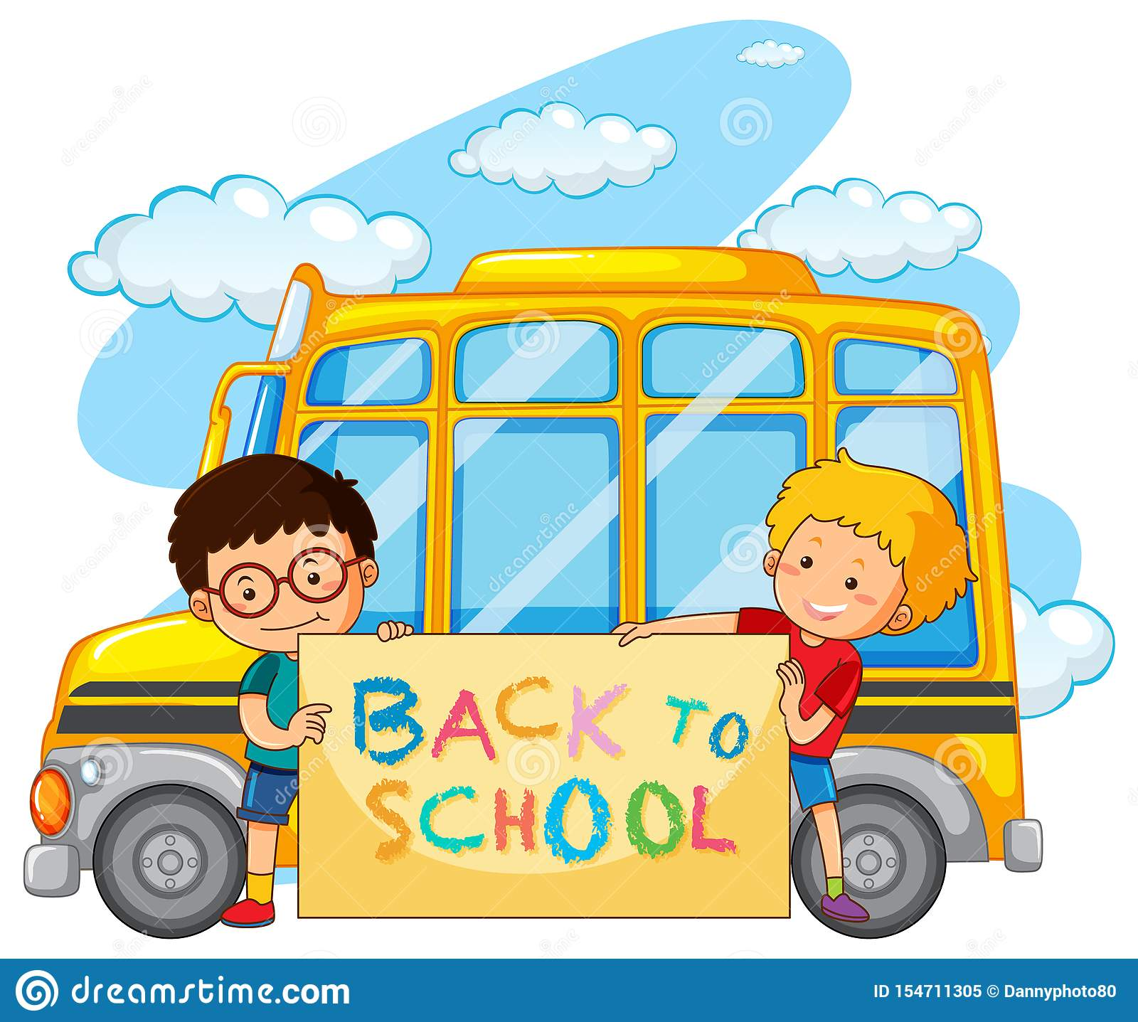 Back To School Template With School Bus Stock Vector