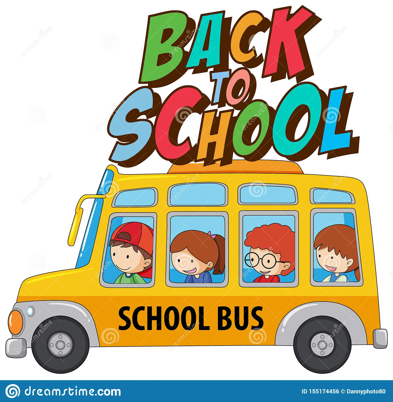 Back To School Template With Bus Stock Vector
