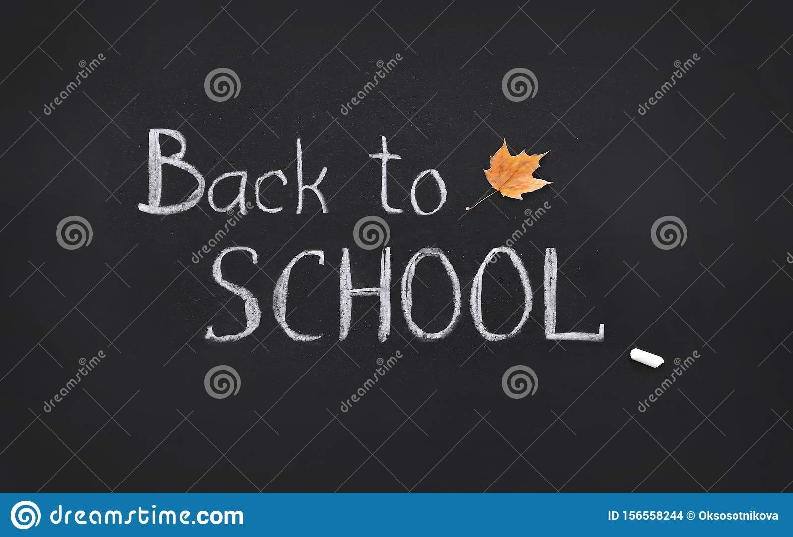 Back to school, template, handwritten in chalk, text on a black board, collage
