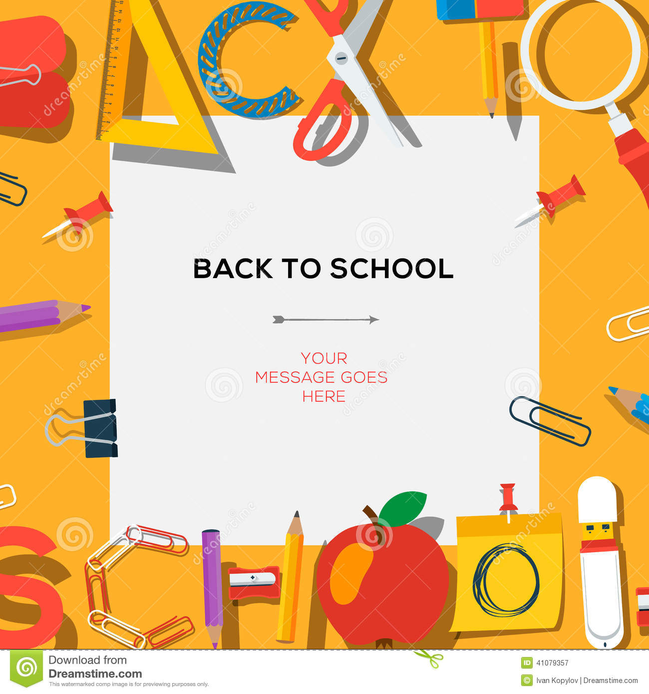Back To School Template With Supplies Stock Vector Illustration Of