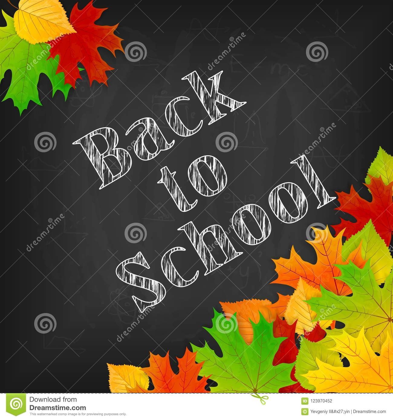 back to school theme on black chalkboard with colorful leaves stock