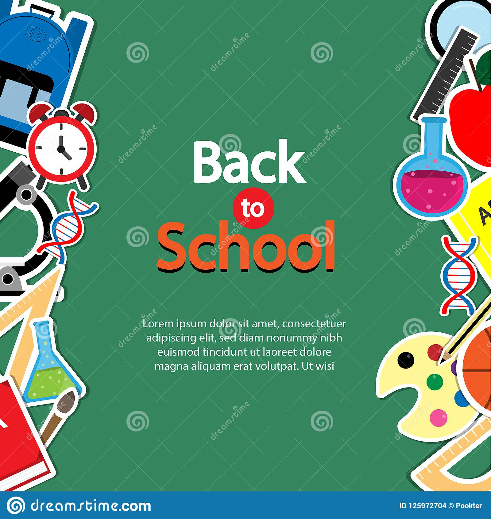 back to school theme icon set on chalkboard textured backdrop arts