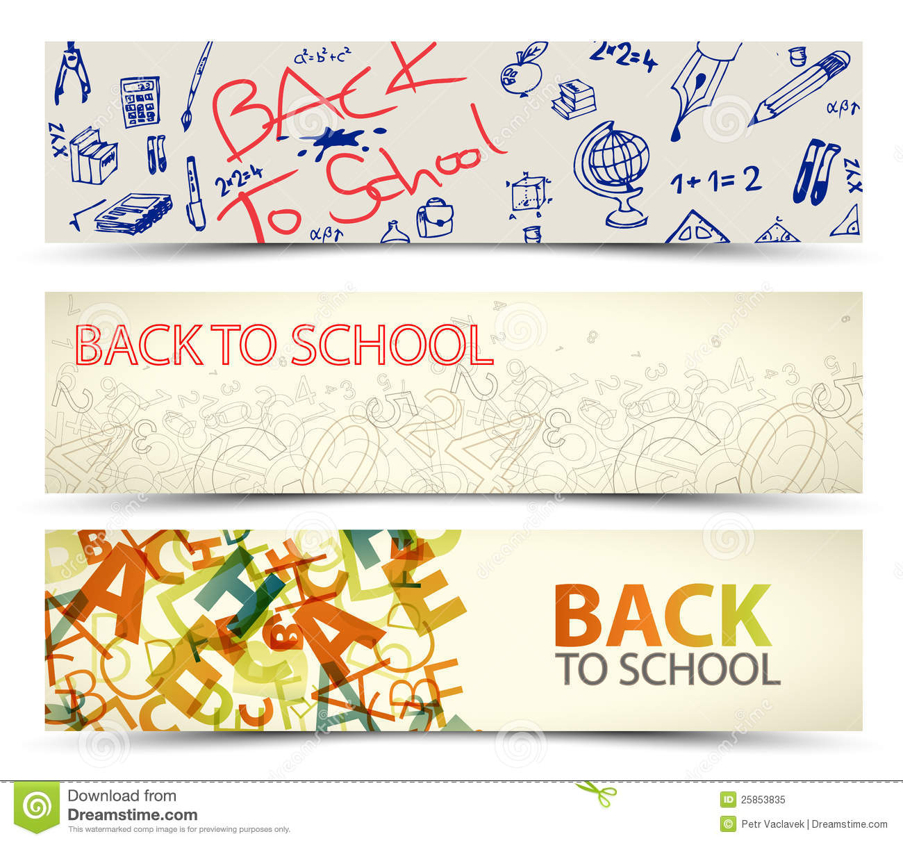 Free School Notebook Cover Vector ~ Back to school vector banners stock illustration