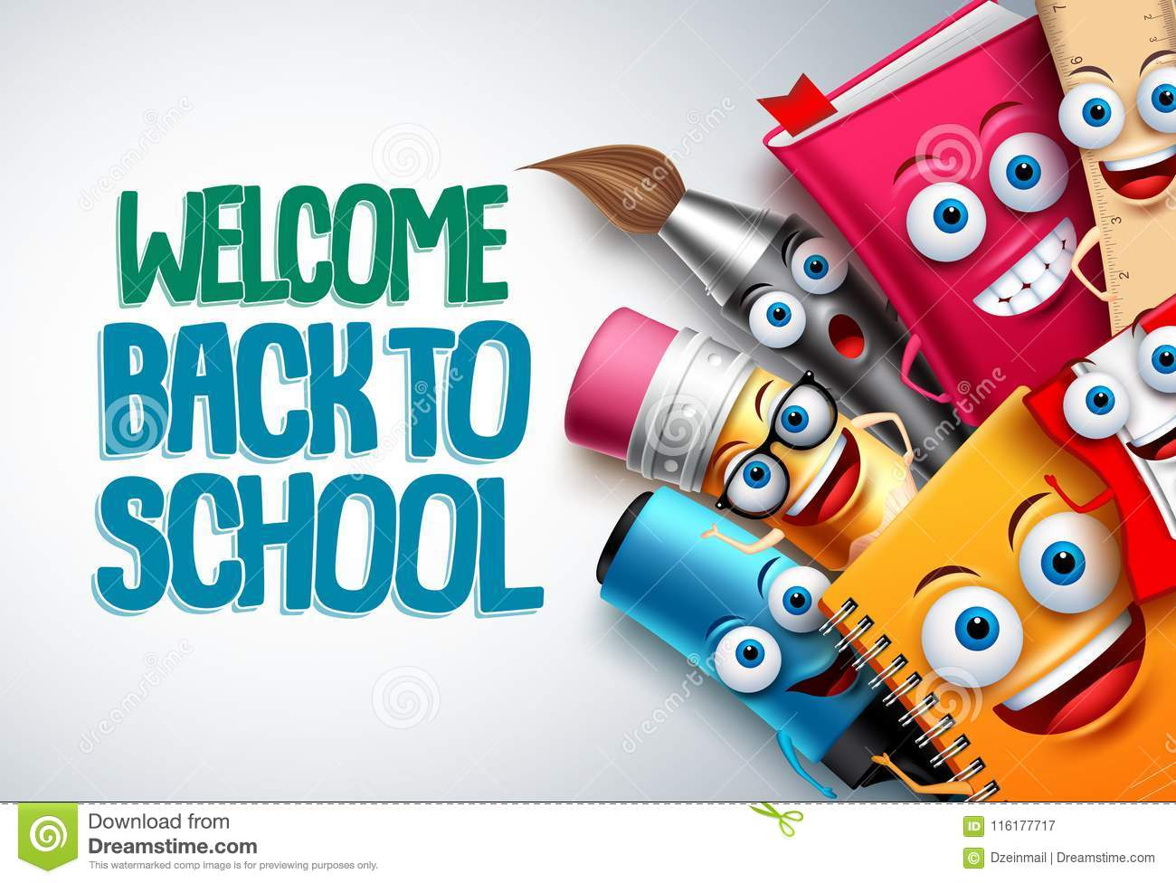 Back to school vector characters background template with funny education cartoon mascots