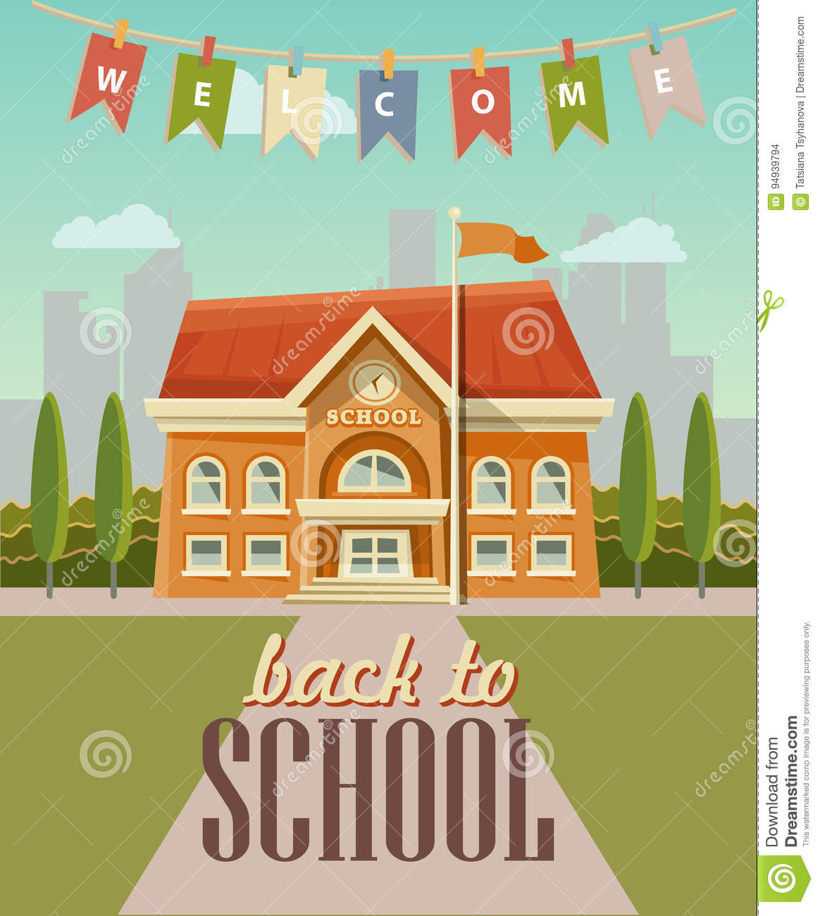 Back To School Vector Illustration School Building With Welcome