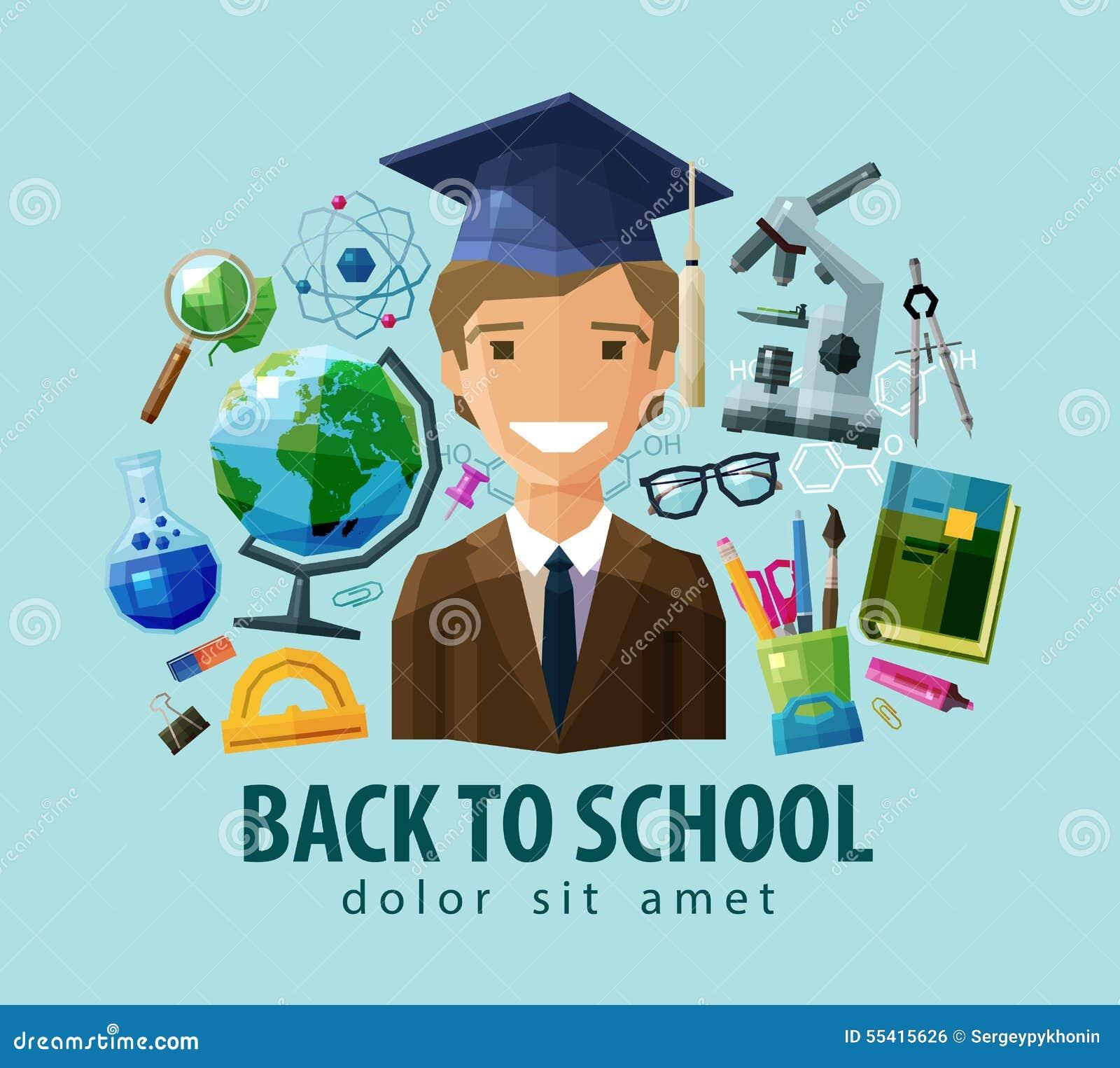 Schools Education6 25 18students: Back To School Vector Logo Design Template Stock Vector