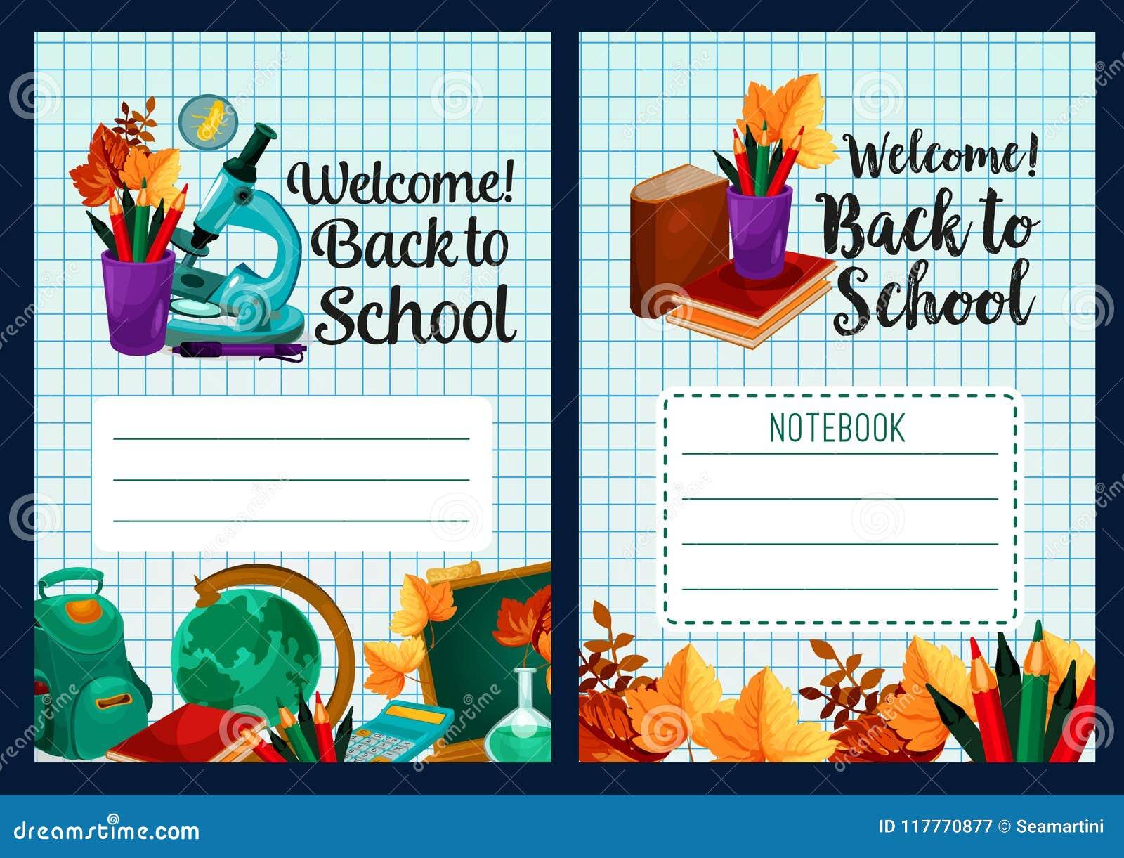 Back To School Vector Notebook Cover Design Stock Vector